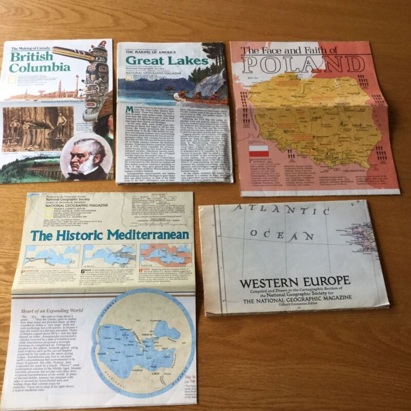 5 Vintage National Geographic Maps/Pamphlets