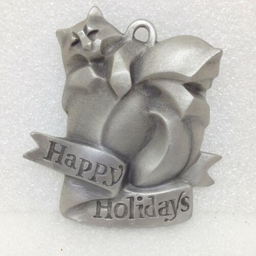 1995 Rosetta CATS Happy Holidays Christmas Ornament Fine Pewter