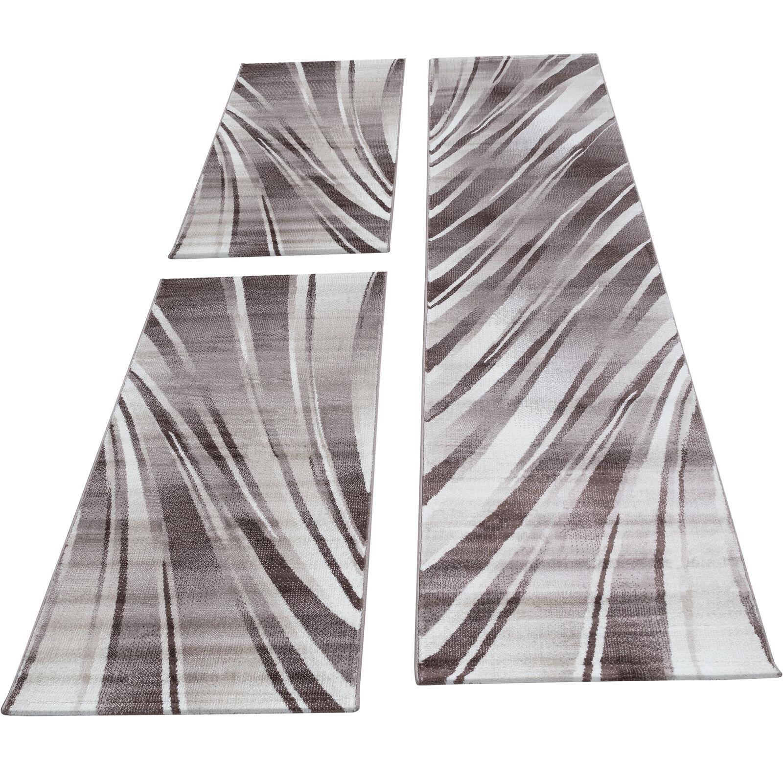 Bettumrandung Läufer Set Teppich abstrakt Wellen Muster 3 Teilig Braun meliert