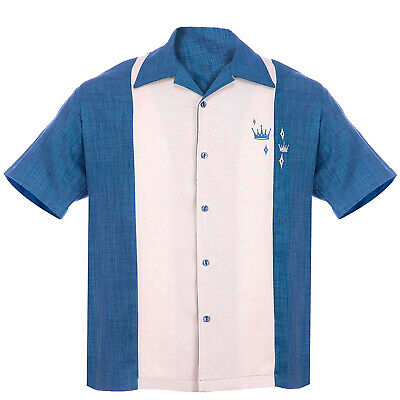 STEADY CLOTHING Contrast Crown Button Up Bowling Shirt Blue S-3XL NEW