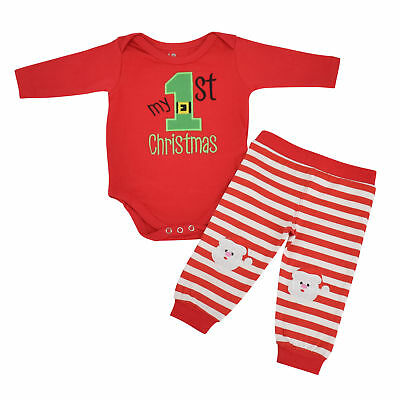 Unisex My 1st Christmas Outfit Santa Layette Set Boutique Toddler Kids Clothes](Kids Santa Outfit)
