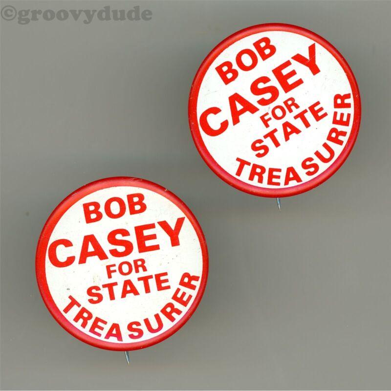 2 Bob Casey For State Treasurer Pennsylvania PA Campaign Pin Pinback Button Lot
