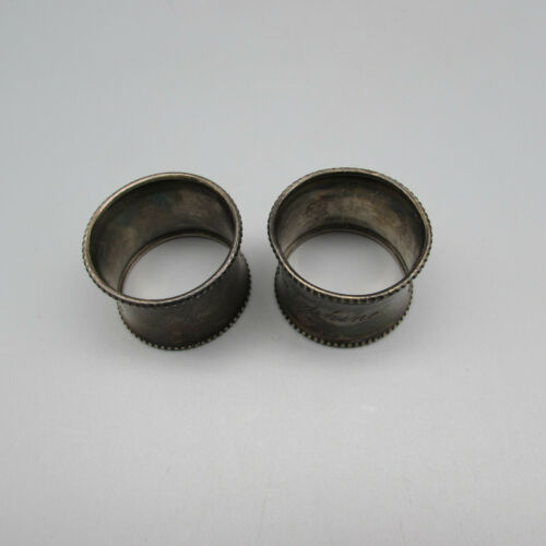 Gorham Sterling Silver Beaded Edge Napkin Rings - Set of Two