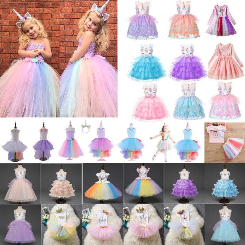Kinder Mädchen Einhorn Prinzessin Tüll Tutu Kleid Party Ballkleid Cosplay Kostüm