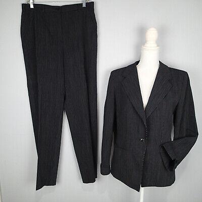 Armani Collezioni Womens Pinstriped  Pant Suit black White blazer jacket