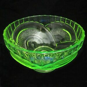 SOWERBY-URANIUM-Vaseline-GLASS-No-2616-GREEN-FRUIT-CONSOLE-BOWL-Vintage-ART-DECO