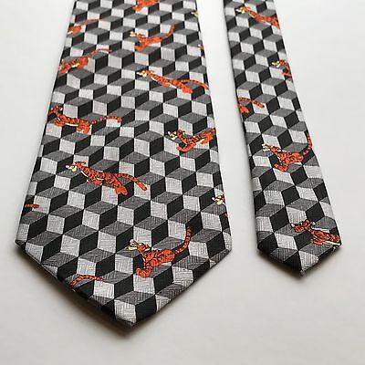 Men's Neck Tie Pooh Disney Tigger Black Geometric A.A. Milne E.H. Shepard