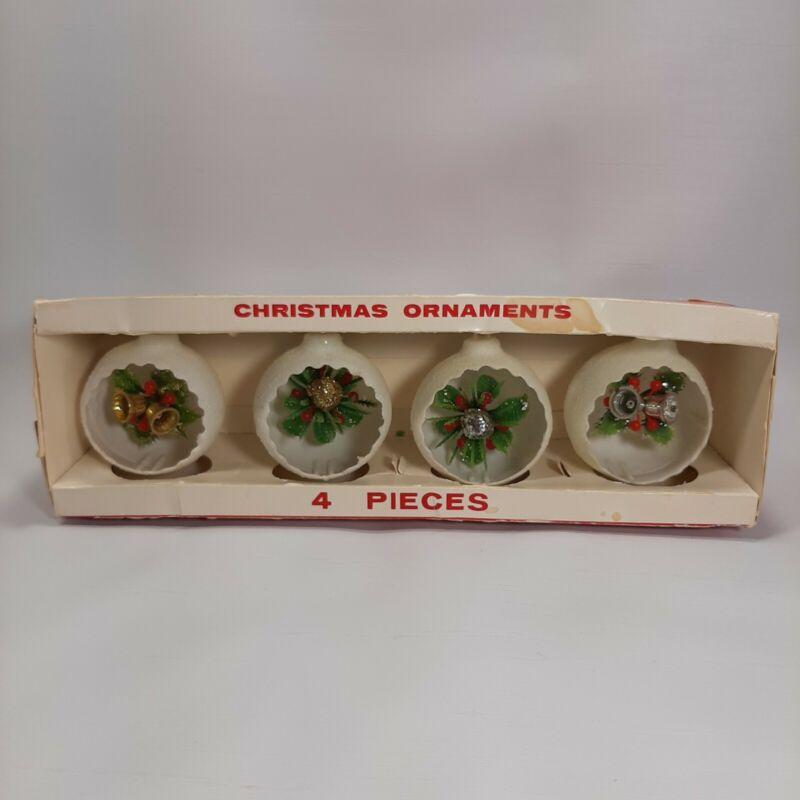 Vtg Set Of 4 Jewelbrite Round Plastic Diorama Christmas Ornaments