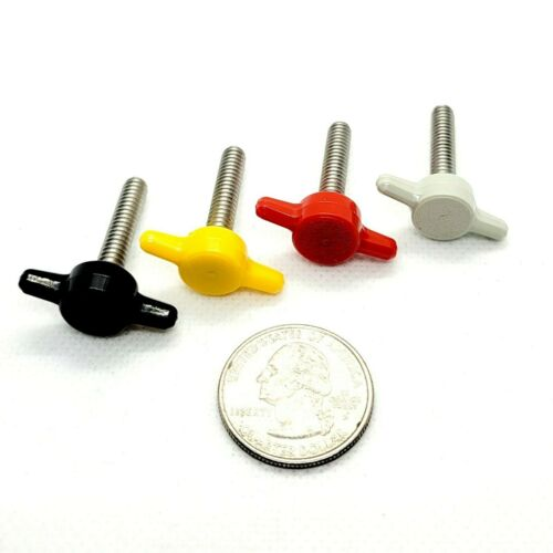 """#10-24 x 1"""" Marine Grade Thumb Screws with Red T Knob 316 Stainless"""