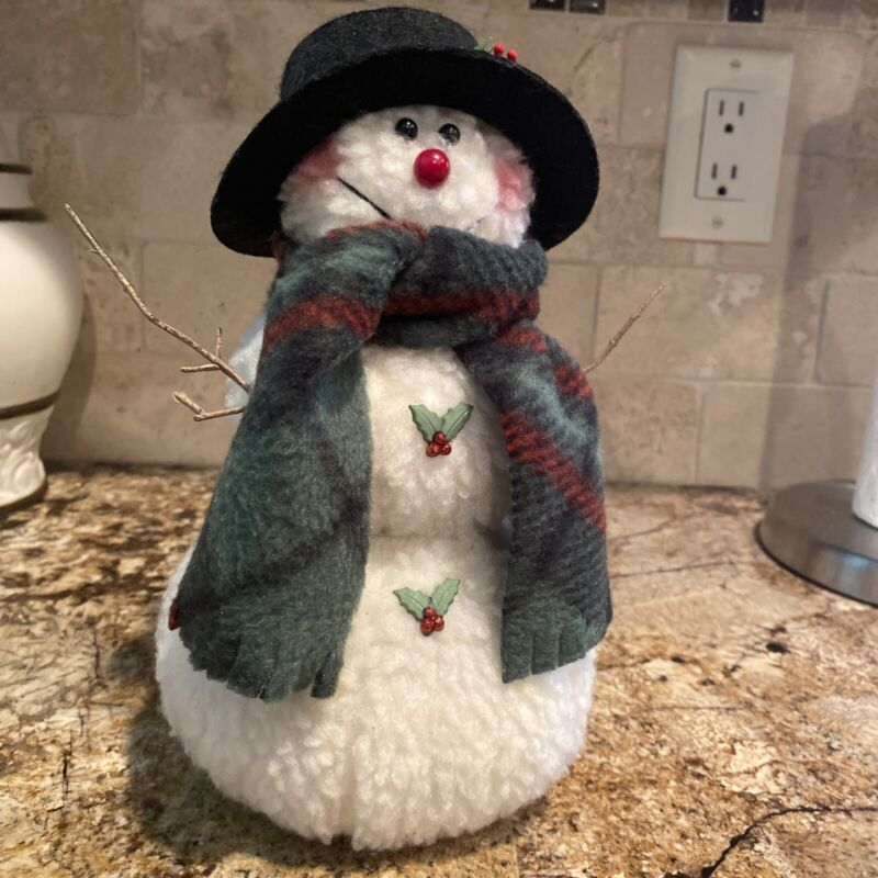 Custom Made Craft Holiday Snowman 9 Inch Tall NEW - Fabric Made - Christmas