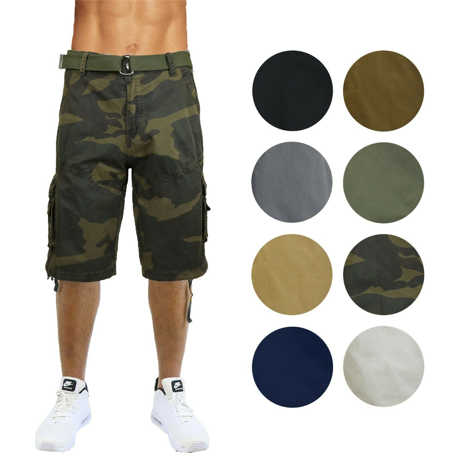 Mens Belted Cargo Shorts Distressed Cotton Vintage Lounge Hiking Sizes 30-48 NEW Clothing, Shoes & Accessories