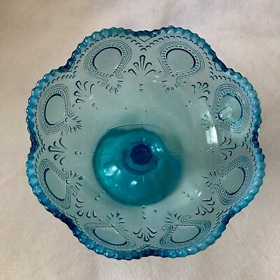 ANTIQUE NORTHWOOD BLUE OPALESCENT SCROLL WITH ACANTHUS JELLY COMPOTE NR
