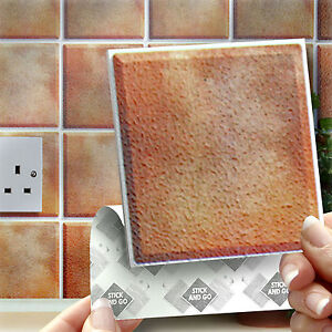 18 stick go terracotta wall tiles stickers for kitchen bathrooms