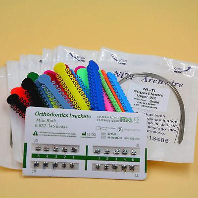 Orthodontic Kit 10 Pks Niti Round Arch Wire   1 Pk Ligature Tie   1 Pack Bracket