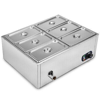 6 Deep 6-pan Steamer Steam Table Bain Marie Food Warmer 110v850w