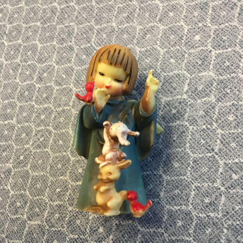 Vintage MCM Cellulois Christmas Angel Mini-Tree Topper/Figurine w/ Birds Bunnies
