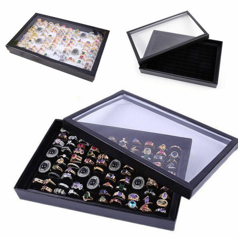 Hot 100Slot Ring Display Case Organizer Jewelry Storage Box