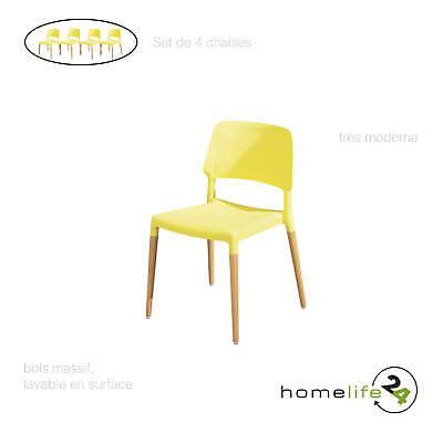 Set de 4 chaises modernes et design pour votre salle à manger cuisine en bois...