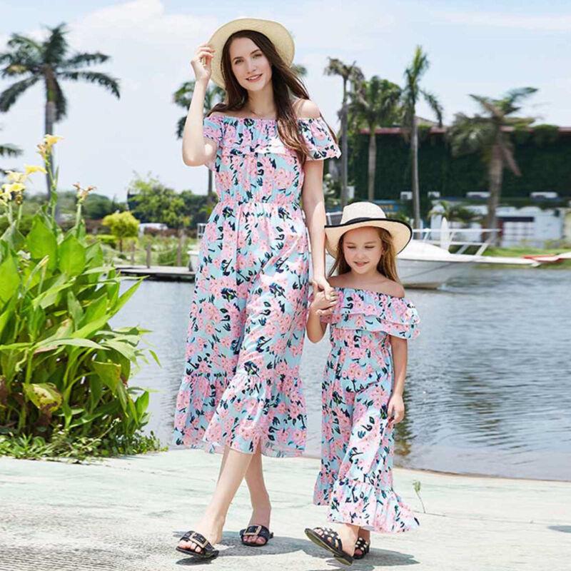 Partnerlook Mutter Tochter Kleidung Mädchen Damen Sommer Off Shoulder Lang Kleid