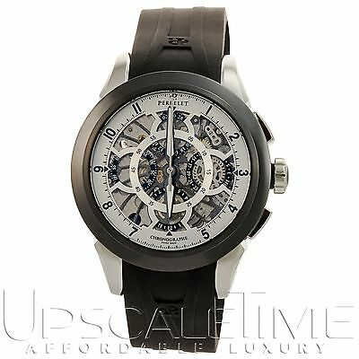 Perrelet Skeleton Silver Chronograph Calendar Automatic Men's Luxury Watch A1056