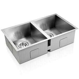 Handmade Stainless Steel Kitchen Laundry Sink Undermount Topmount 770 x 450 mm