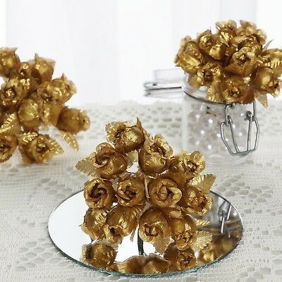 144 pcs Gold Mini CRAFT ROSE BUDS Wedding Party Favors Supplies Decorations -