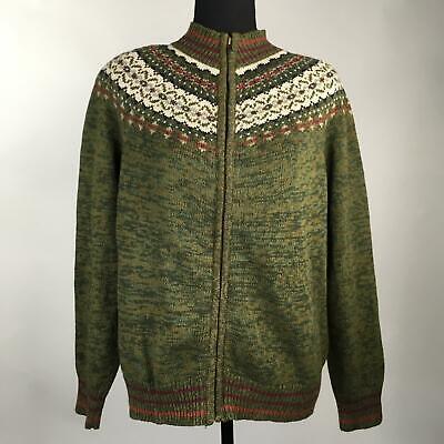 Tiara International Olive Fair Isle Christmas Ugly Sweater Jacket Womens Size L ()