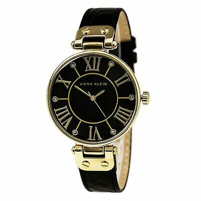 Anne Klein 1396BMBK Lady's Dress Black MOP Dial Black Strap Watch