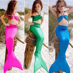 Ragazze bambine sirena set bikini costumi da bagno costumi da bagno costume ebay - Ragazze belle in costume da bagno ...
