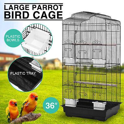 """Bird Cage 36""""  Parrot Conure Cockatiel Finch Canary Pet 4 Cup Feeders"""