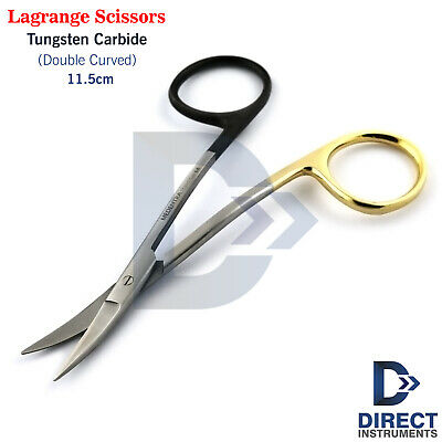 New Lagrange Scissors Tc Double Curved 11.5cm Surgical Micro Tissue Gum Shears