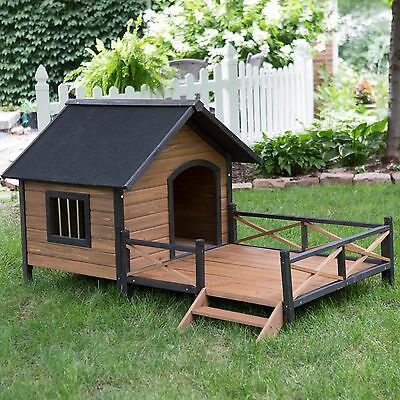Large Dog House Kennel All Weather Wooden Raised Floor Outdoor Spacious Deck