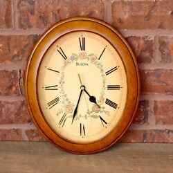 BULOVA WALNUT WOOD FRAME WALL CLOCK  C4427 13 inches NOT WORKING Vintage