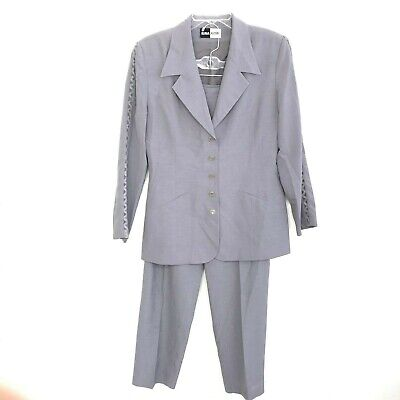 Vintage Rina Rossi Women's Gray Pant Suit size 10 Blazer High Rise Pants HK