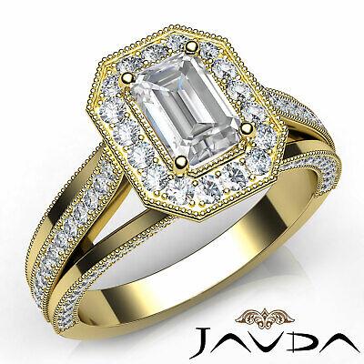 Halo Milgrain Pave Emerald Diamond Engagement Split Shank Ring GIA F VVS2 1.40Ct