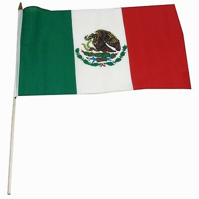 """12x18 12""""x18"""" Mexico Mexican Stick Flag wood staff (30 inch staff) Wooden Pole"""