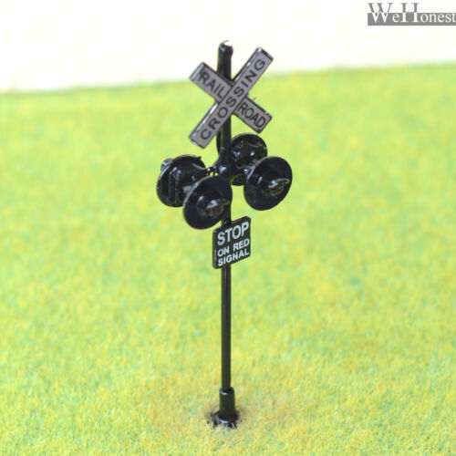 1 x HO/OO railway crossing signals LED 4 targets lights with screw base #OO4BL