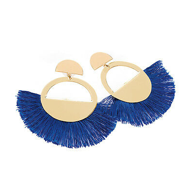 - Gold Coloured Royal Blue Thread Tassel Earrings Ladies Fashion Jewellery