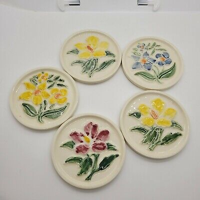 Set of 5 Pottery Tile coasters marked Mosaic made in USA (5702)
