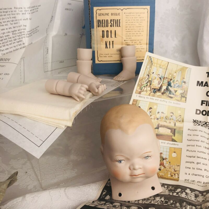 DIY Byelo-Style Doll Kit 15in Bisque Hand Painted Porcelain Antique Replica
