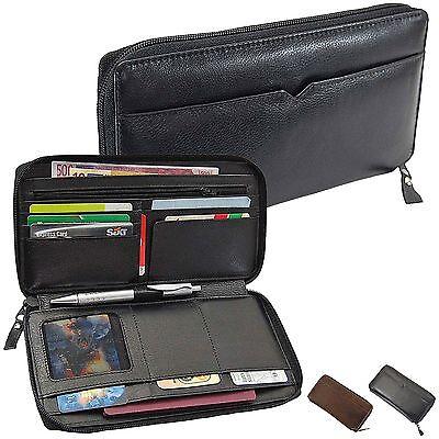 Leder Reise-brieftasche (Reisebrieftasche Leder Brieftasche Reiseorganizer Bordkartenetui Organizer Reise)