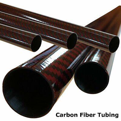 Red Carbon Fiber Tubing- 8mm x 6mm x 500mm - 3K- Plain Weave-High Gloss 6 Mm High Gloss