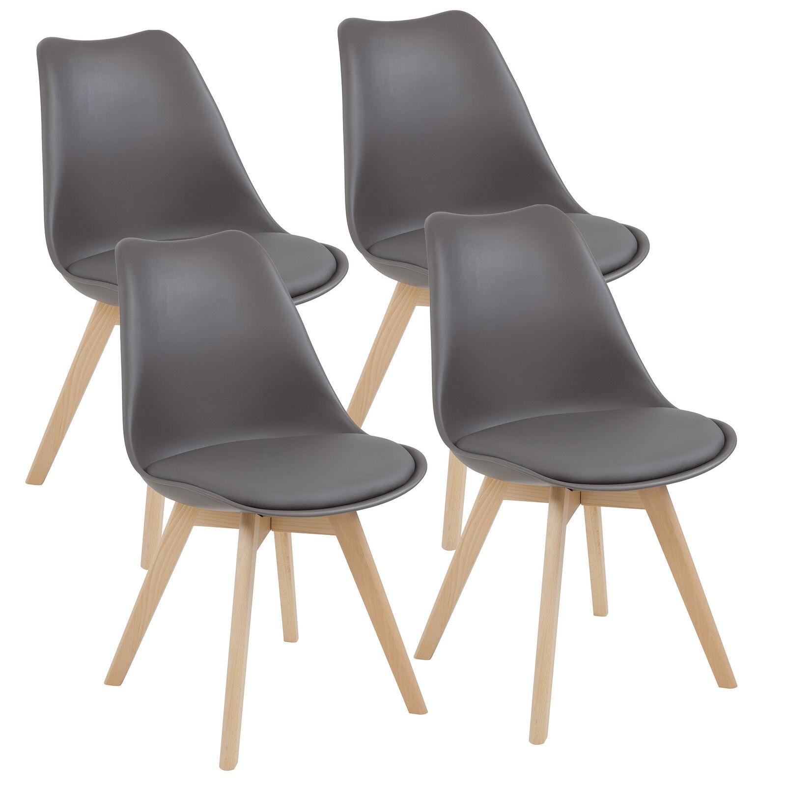 Esszimmerstühle AARHUS, 4er Set, Grau mit Beinen aus Massiv-Holz, Buche