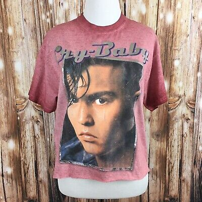 True Vintage CRY BABY MOVIE Women's Crop Top Distressed JOHNNY DEPP Tee Small Distressed Baby Tee