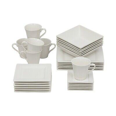 30 Piece Square Dinnerware Set Dinner Plates Cups Dishes, Cream White Dinnerware Set Cream