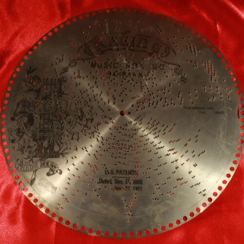 """Antique REGINA Music Box 15.5"""" Metal Disc #1492 """"Palm Branches"""" Song by FAURE"""
