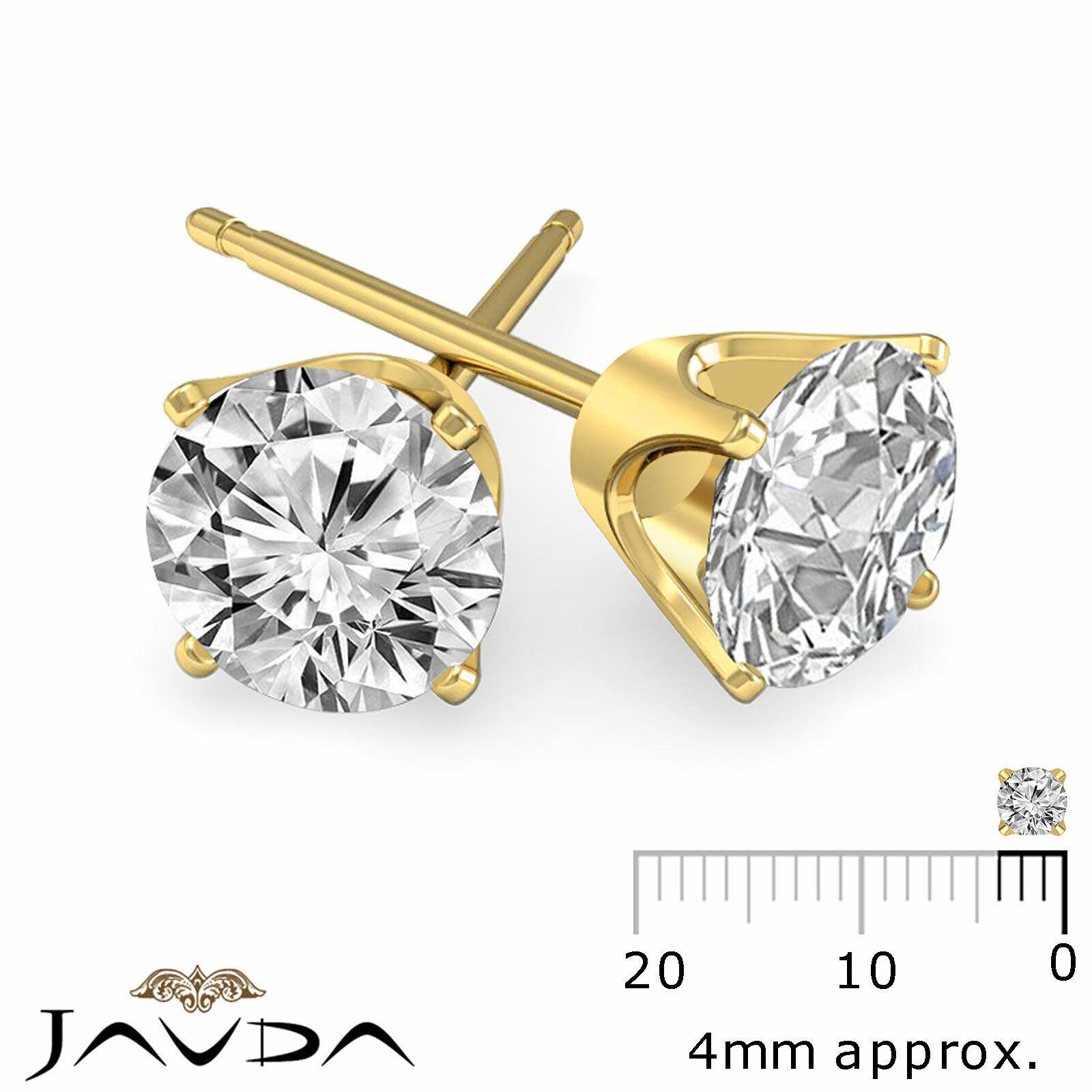 Round Cut Diamond 1 Pair Women's Stud Earring Solid Gold Jewelry 0.46 ctw. 1