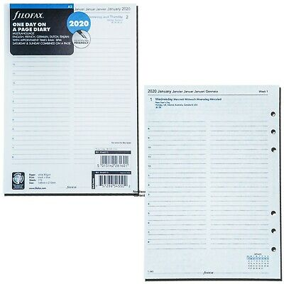 2020 Filofax A5 Size Diary Refill 20-68515 One Day On A Page Multilanguage