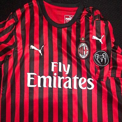 AC Milan 19/20 Home Soccer Jersey  Size Large