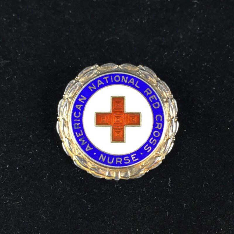 American National Red Cross Nurse Sterling Silver Pin Numbered Enamel Badge Vtg